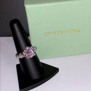 Judith Ripka Asscher cut Clear Stone Ring